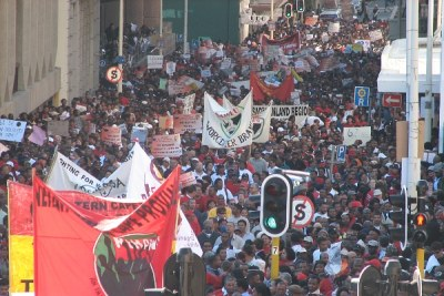 Public sector workers march down plein street to Parliament in Cape Town during a labour strike (file photo).