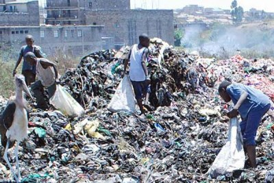 Children scavenging in a dump site in Nairobi.