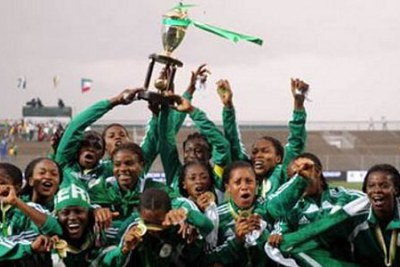 The Super Falcons of Nigeria after beating Equatorial Guinea 4-2 to regain the African Women Championship trophy, in South Africa.