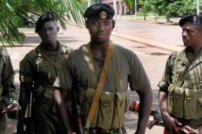 Soldiers patrolling the capital, Bissau.