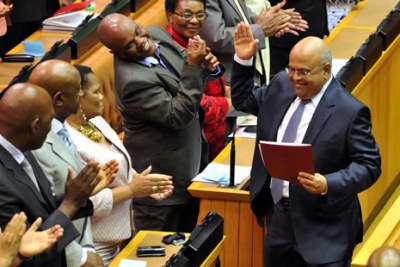 Minister Pravin Gordhan after delivering his 2012 Budget Speech at Parliament, Cape Town.
