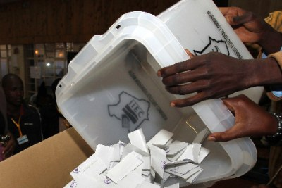 Ballot box being emptied.