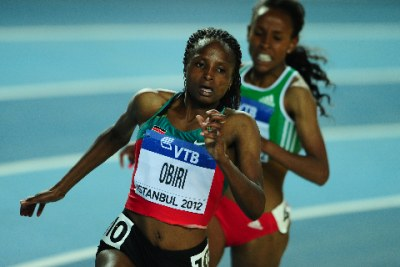 Kenya's Hellen Obiri competes during the women's 3000m final at the 2012 IAAF World Indoor Athletics Championships at the Atakoy Athletics Arena in Istanbul on March 11, 2012.