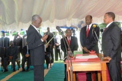 Mr. Joseph Sinde Warioba was sworn-in by President Kikwete as chair of the Constitutional Review Commission.