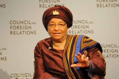 President Ellen Johnson Sirleaf addresses the U.S. council on foreign affairs.