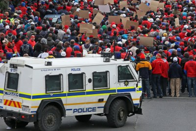 Members of the National Union of Metalworkers of South Africa march for better wages in Cape Town (file photo).