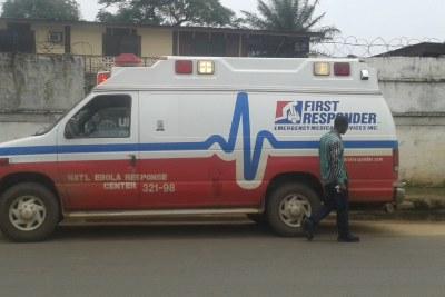 One of the ambulances in Monrovia picking up patients to be tested for Ebola.