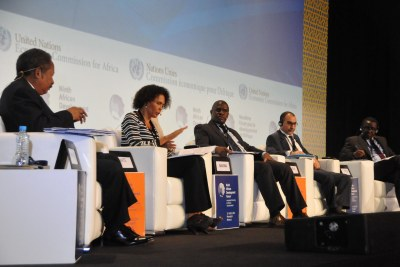A panel convenes to discuss the complex implications of curbing illicit financial flows, as an innovative means of financing development in Africa during the 9th African Development Forum held in Marrakech, Morocco.