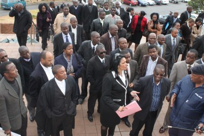 Swazi lawyers protesting outside the High Court against Chief Justice Michael Ramodibedi (file photo).