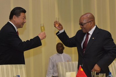 President Jacob Zuma and President Xi Jinping during the state banquet held at the Presidential Guest House in Pretoria.