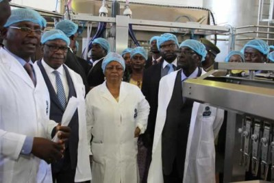 President Robert Mugabe visits his Gushungo Dairy processing plant.