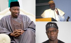 Former presidents Goodluck Jonathan, late Umaru Musa Yar'Adua and Olusegun Obasanjo.