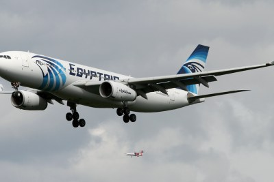 An EgyptAir Airbus A330-200 on short final to Frankfurt Airport in 2013.