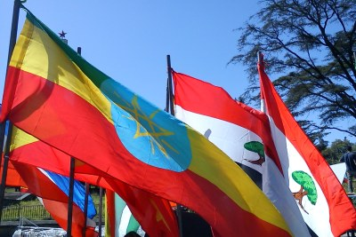 Ethiopia's national and regional flags.
