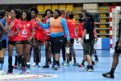 The Angolan senior women's handball team at the Rio Olympic Games.
