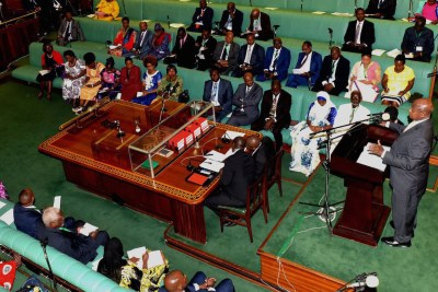 President Yoweri Museveni addressing  the parliament (file photo).