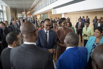 President Paul Kagame with the First Lady, Jeannette Kagame, exchanging greetings with diplomats.