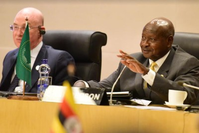 President Yoweri Museveni speaking at AU Summit.