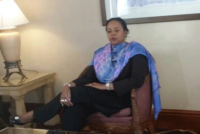 Foreign Affairs Cabinet Secretary Amina Mohamed briefs journalists in Addis Ababa.