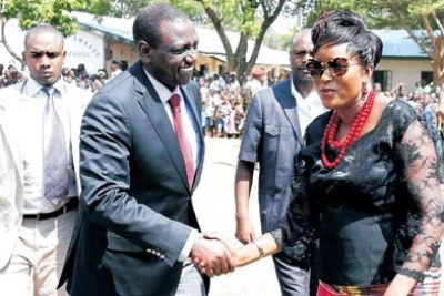 Teso South MP Mary Emase welcomes Deputy President William Ruto (file photo).