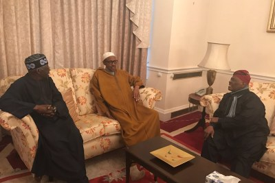 President Buhari currently receiving party leaders, Asiwaju Bola Ahmed Tinubu and Chief Bisi Akande, in Abuja House, London.