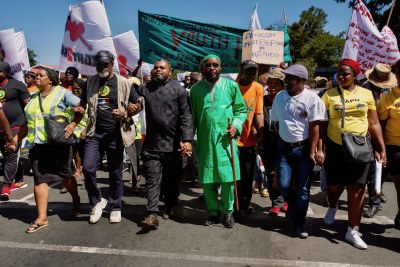 Community leaders from immigrant communities led the march through Hillbrow.