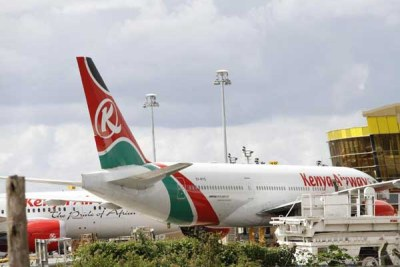 Kenya Airways planes at Jomo Kenyatta International Airport in Nairobi.