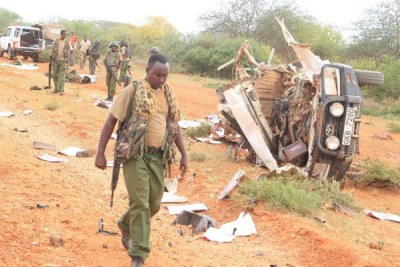 The site of the explosion in Mandera on May 24, 2017.