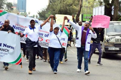 Nurses from various hospitals in Nairobi County take to the streets on the second day of the countrywide strike.