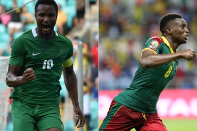 Super Eagles' Michael Obi and Indomitable Lions' Benjamin Moukandjo (file photo).