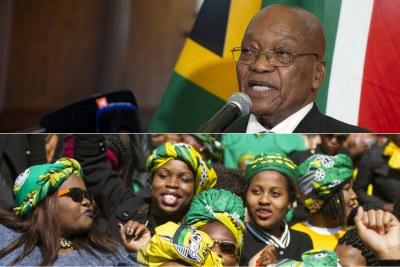 Top: President Jacob Zuma. Bottom: ANC supporters.