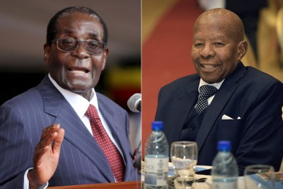 Zimbabwean President Robert Mugabe and late former president of Botswana Sir Ketumile (file photo).