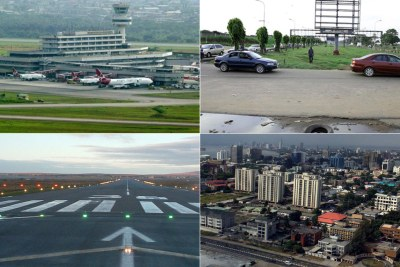 Murtala Muhammed Airport, airport approach road earmarked for repair and view of Lagos State.