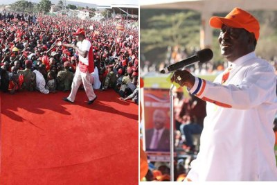 Jubilee's President Uhuru Kenyatta, left, addresses a rally at Afraha Stadium in Nakuru. Raila Odinga of Nasa spoke at Uhuru Park on August 5, 2017.
