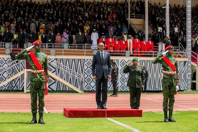 Paul Kagame being sworn-in as President of Rwanda during a colourful ceremony that was attended by over 20 heads of state and Government.
