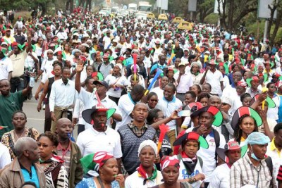 Nurses protest along Uhuru Highway in Nairobi during their strike.