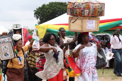 Ghanaians celebrate free schooling at the senior high school level.