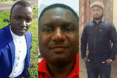 Journalists who faced a military tribunal for covering protests and unrest in Cameroon's English-speaking regions. They were freed under a presidential decree.