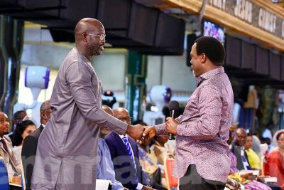 Football legend George Weah and The Synagogue Church Of All Nations, SCOAN, led by T.B. Joshua.