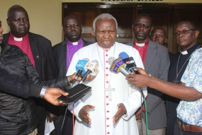 Bishop Cornelius Korir of Eldoret Catholic Diocese and other religious leaders from the North Rift region during a press conference at St John's Cathedral Catholic Church in Eldoret town on August 4, 2017.