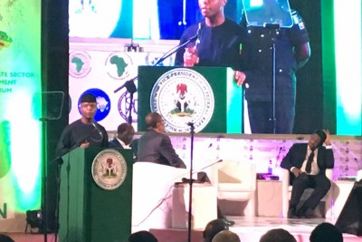 Nigerian Vice President Yemi Osinbajo addressing the High-Level Trade and Investment Facilitation Forum for Development, in Abuja.