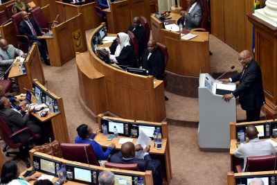 President Jacob Zuma delivering his Annual Address to the National Council of Provinces (NCOP) in the Old Assembly Chambers at Parliament in Cape Town.