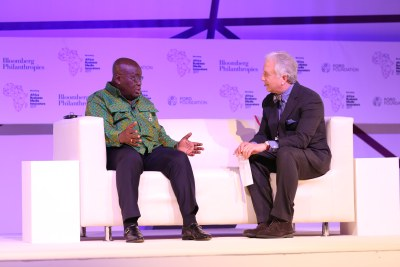 President of Ghana Nana Akufo-Addo speaks with Bloomberg's Matthew Winkler at the third Africa Business Media Innovators summit in Accra.