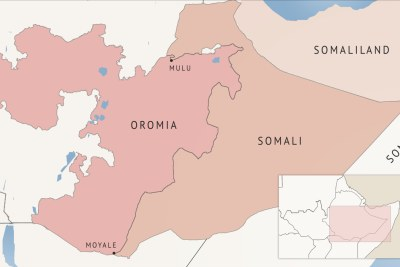 A map of Ethiopia's Oromia and Somali regions.