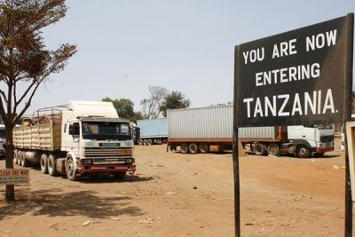 The Namanga border post on the Kenya-Tanzania border.