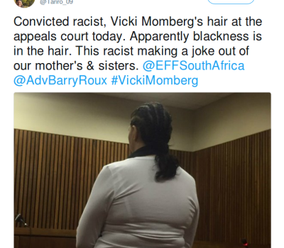 Twitter Throws Shade at Convicted Racist Vicki Momberg's Cornrows