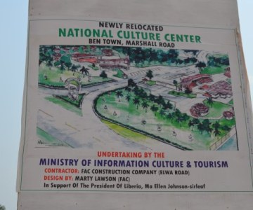 A new culture center is being constructed at in Ben Town, on the Road to Marshall, Liberia