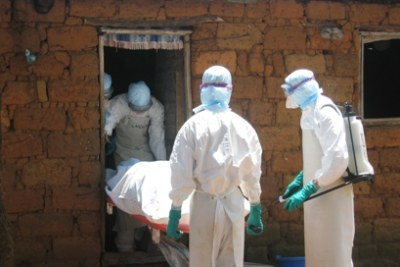 Medical officers preparing for the safe transport and burial of fatal cases of Marburg haemorrhagic fever (file photo).