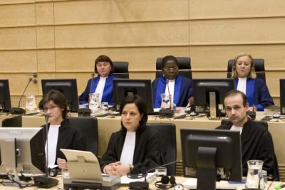 The judges who will decide whether to add genocide to Omar al-Bashir's arrest warrant: Back row from left, Judge Anita Ušacka from Latvia, Judge Akua Kuenyehia (presiding judge) from Ghana and Judge Sylvia Steiner from Brazil.