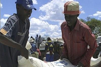 People receiving food aid.